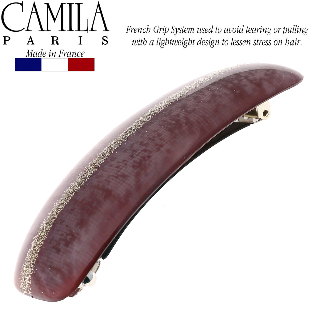Camila Paris CP2705 Purple French Hair Barrette Rectangular Rubberized