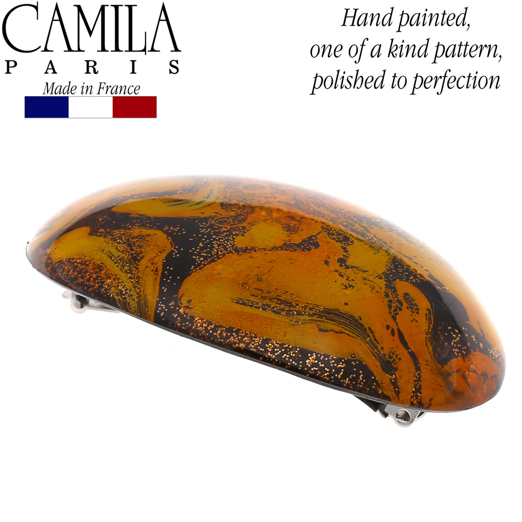Camila Paris CP2721 Yellow French Hair Barrette Round Rubberized Clasp