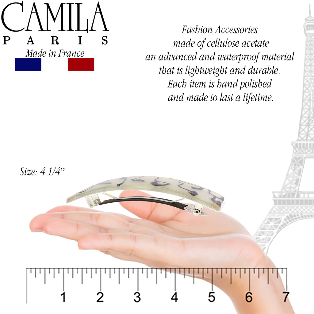 Camila Paris CP2730 Large Beige French Hair Barrette Rectangular