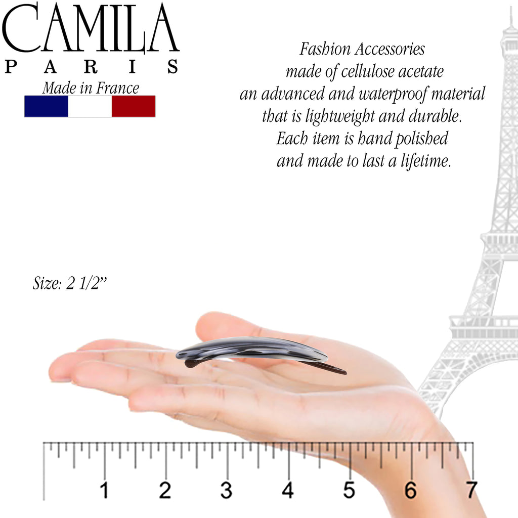 Camila Paris CP2809 Handmade Black & White French Hair Barrette Slide