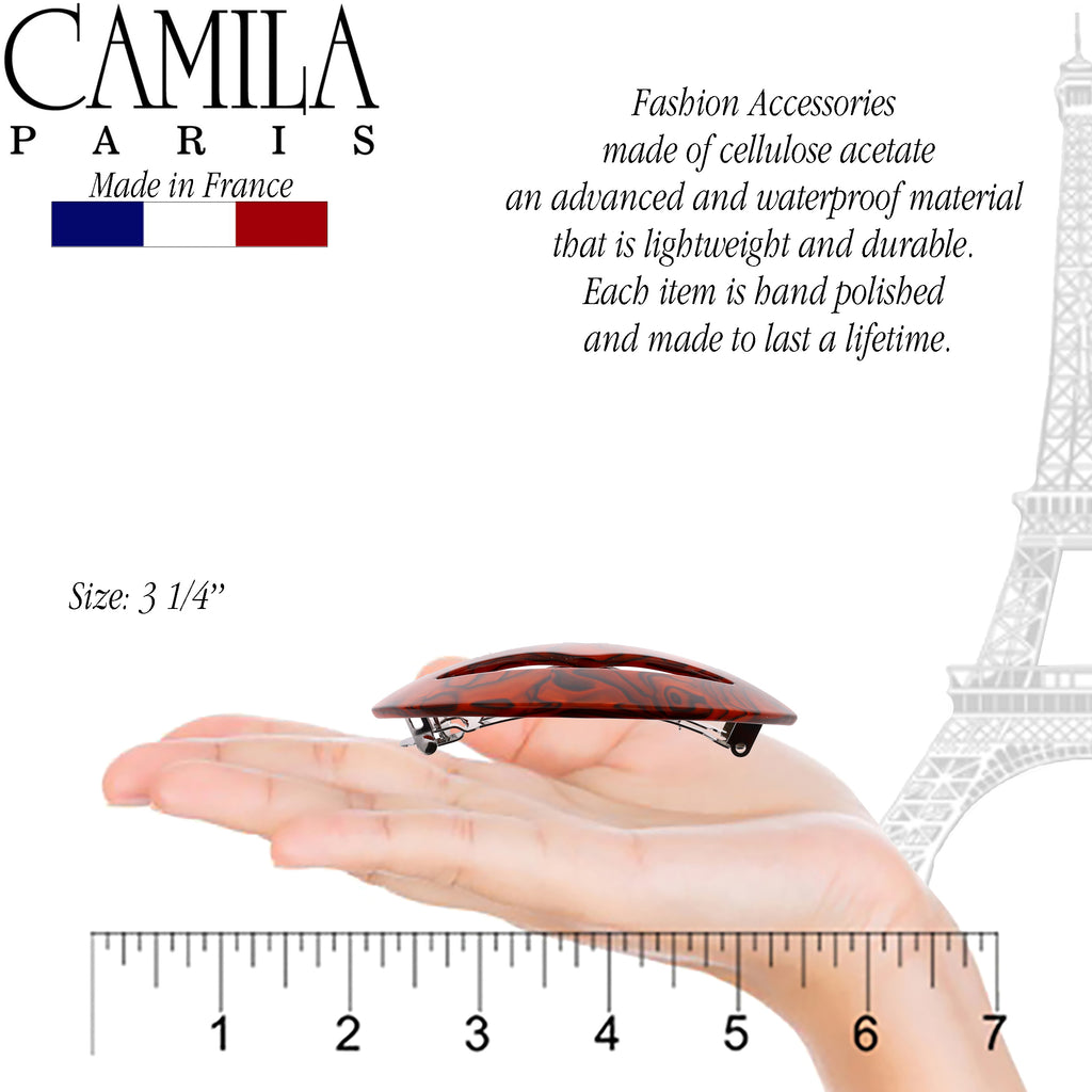Camila Paris CP2969 French Hair Barrettes Clips, Handmade Kiss Brown