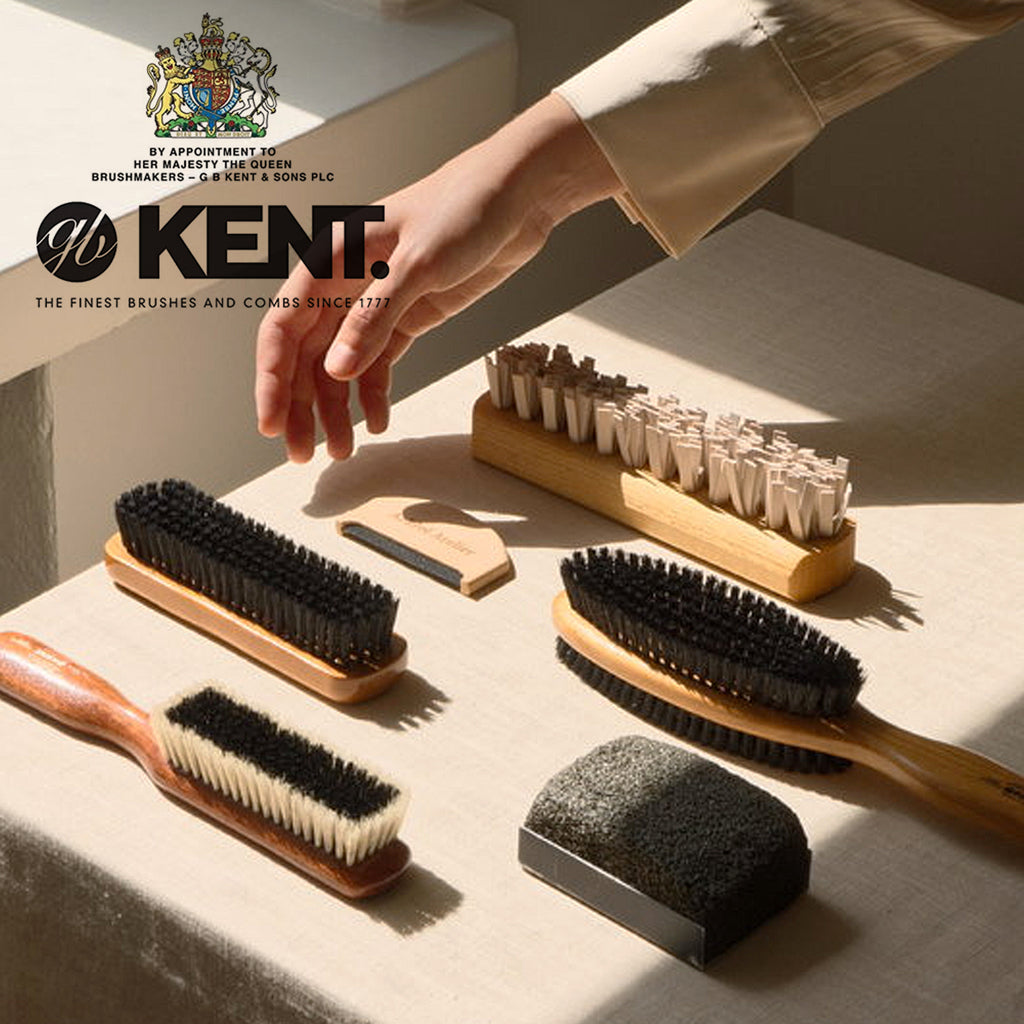 Kent CP6 Clothes Brush Dark Wood for Cashmere Care. Black and White Pure Bristles