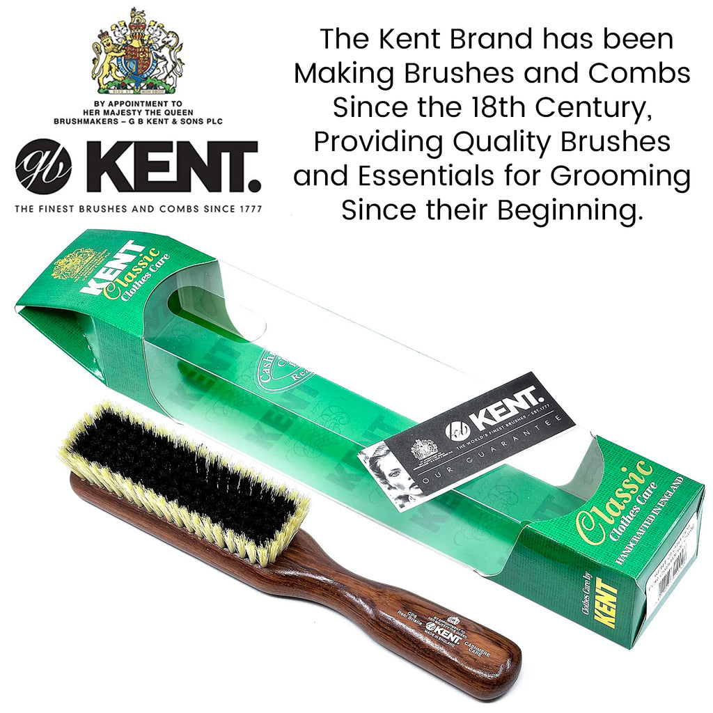 Kent CP6 Clothes Brush for Cashmere Care. Black / White Pure Bristles