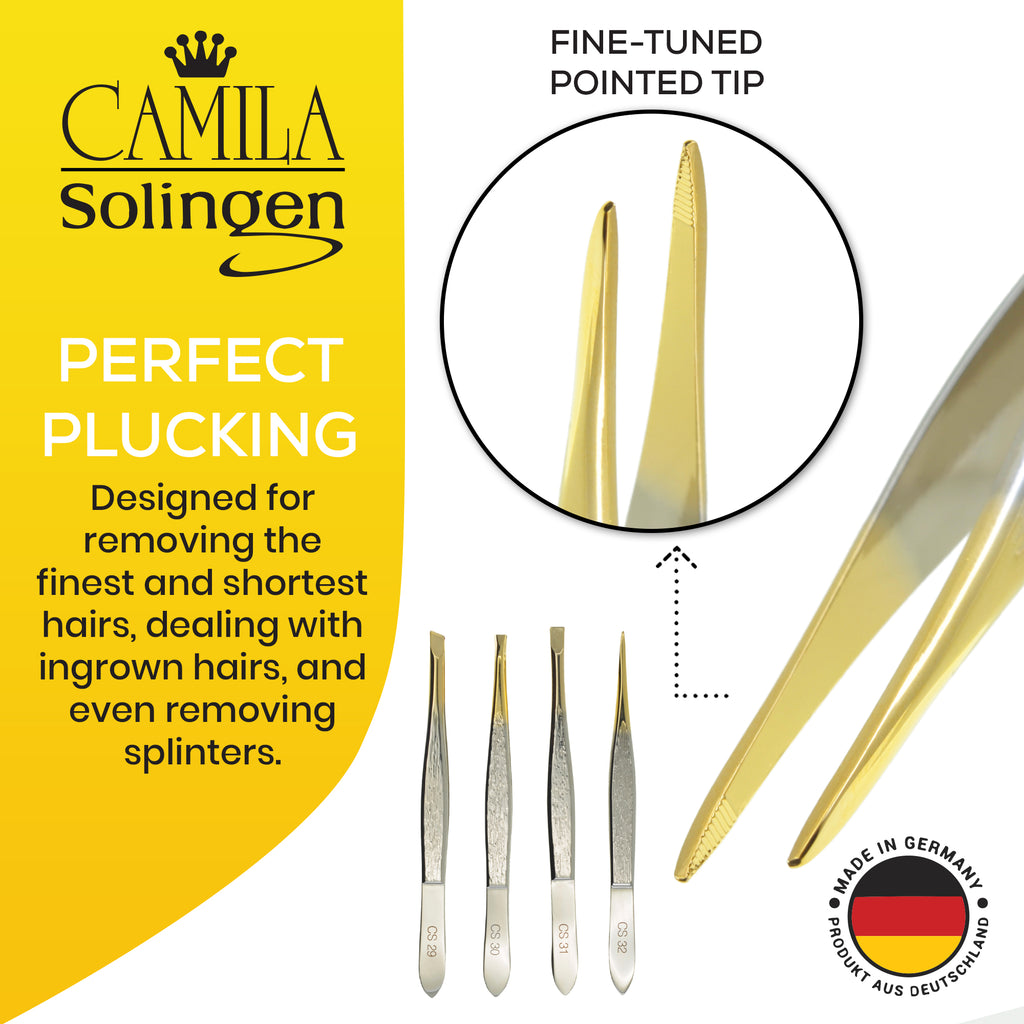 "Camila Solingen CS32 3 1/2"" Professional Gold Tipped Tweezers. Pointed"