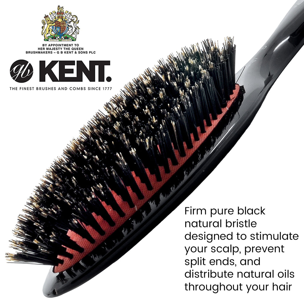 Kent CSFL Oval Cushion Grooming Hair Brush. Pure Black Boar Bristle