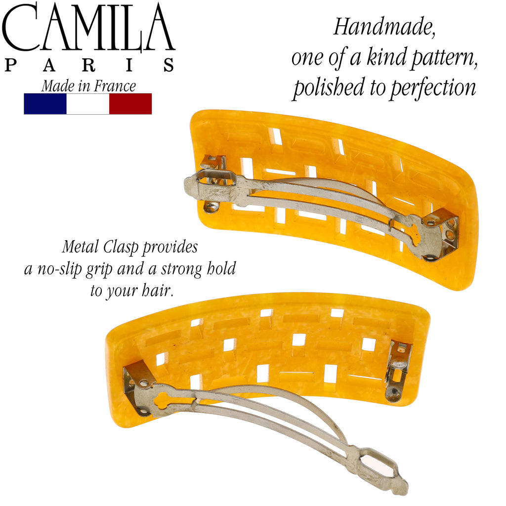 Camila Paris DG47 Handmade Orange French Hair Barrette Automatic Clasp