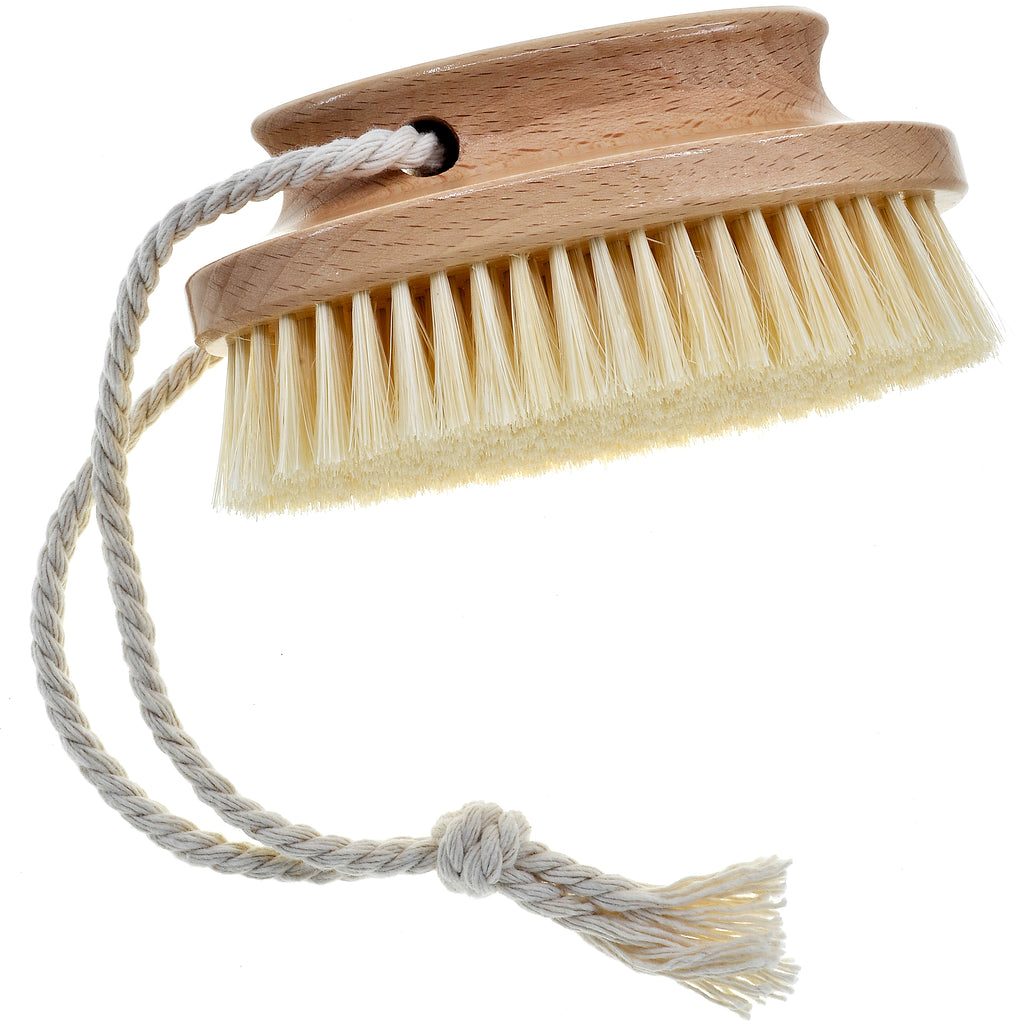 Kent Brushes Compact Natural White Bristle Shower/ Exfoliating Brush Oval Beechwood Handle�