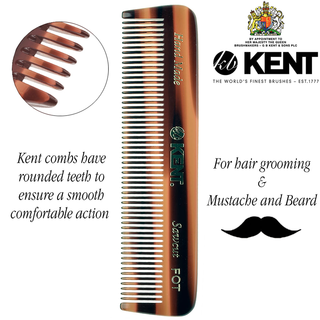 "Kent FOT 4 1/2"" Handmade Pocket Comb All Fine Medium Men Women. Sawcut"