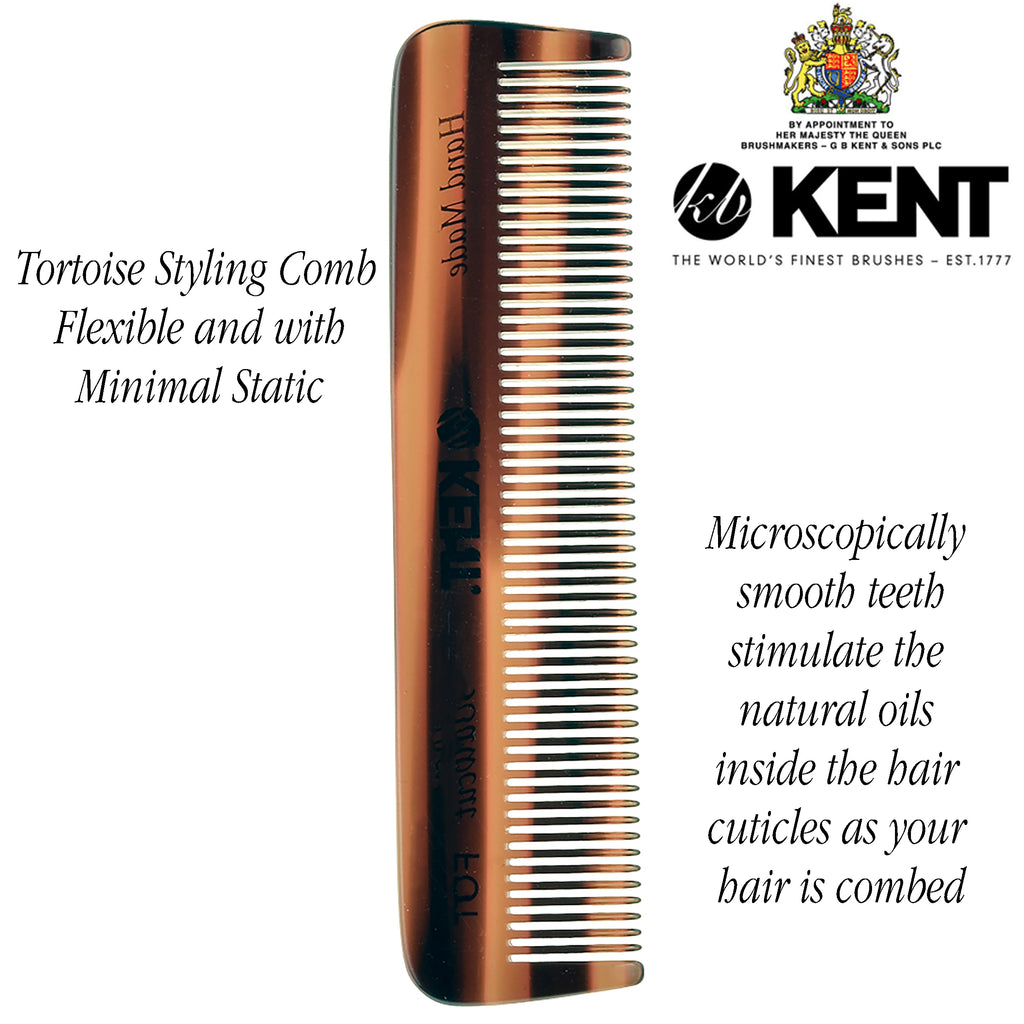 Kent FOT 4.5 Inch Men's Pocket Comb All Fine Tooth Handmade in England