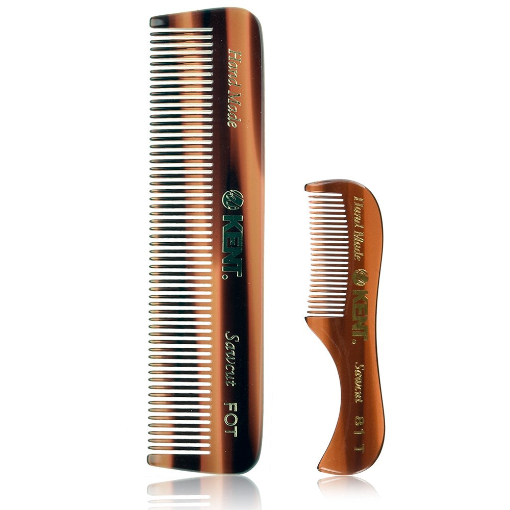 Kent Set of Combs - 81T Beard and Mustache Comb and FOT Pocket Comb - Best Beard Care Kit, Travel, and Home, Daily Grooming