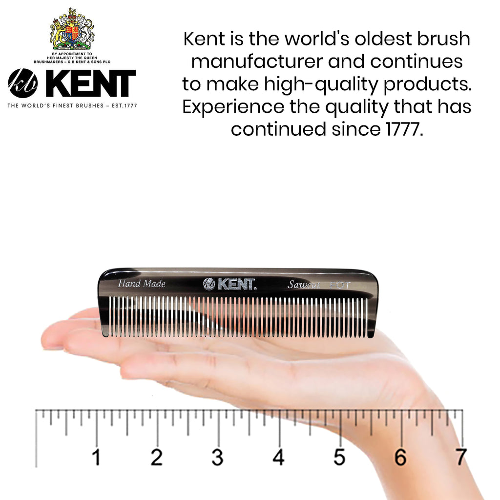"Kent FOT 4 1/2"" Handmade Sawcut Pocket Comb All Fine Medium Men Women"