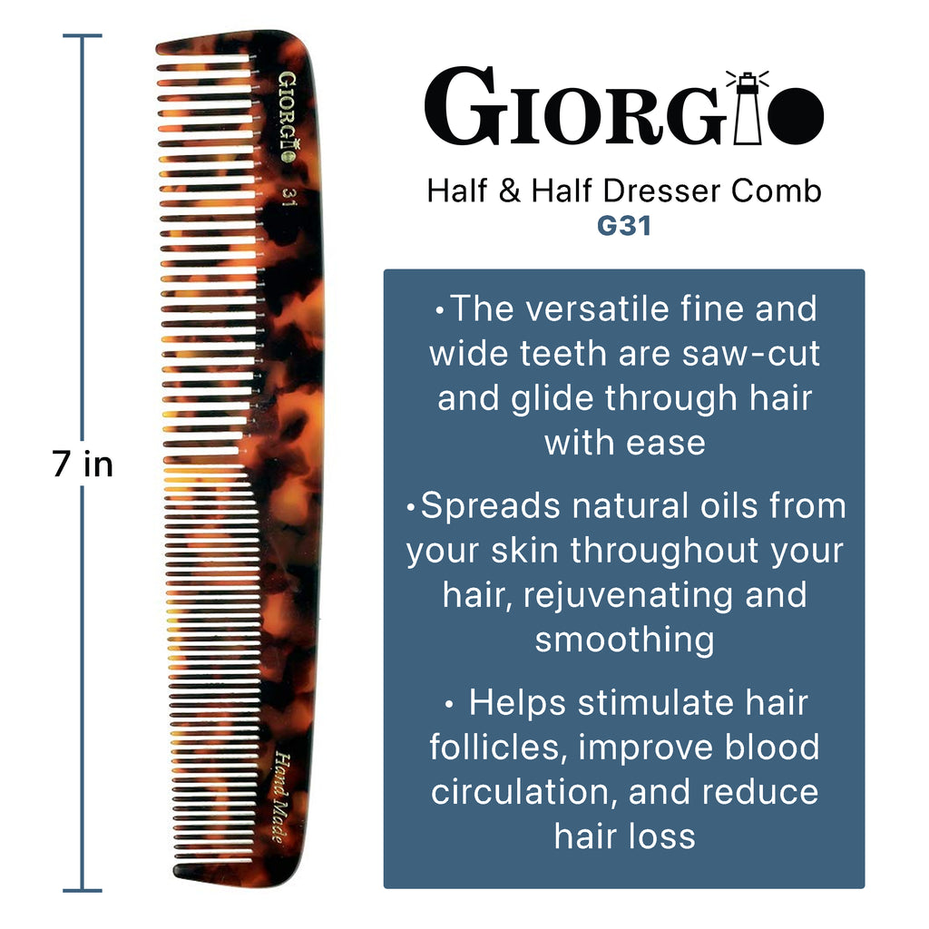 "Giorgio G31 7"" Hand Made Course/Fine Teeth Flexible Comb Combs"