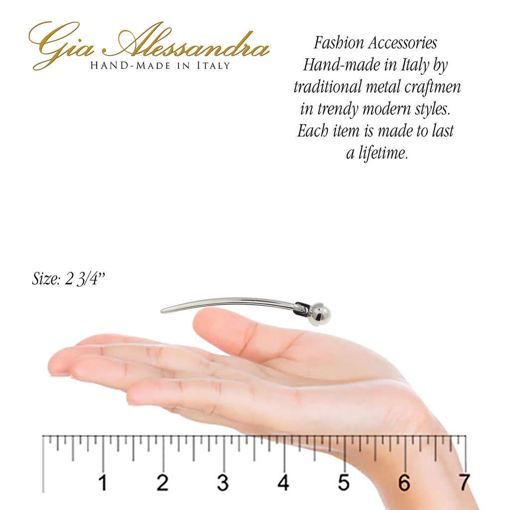 Gia Alessandra GA249 White Small French Twist Stick Pins with Pearls