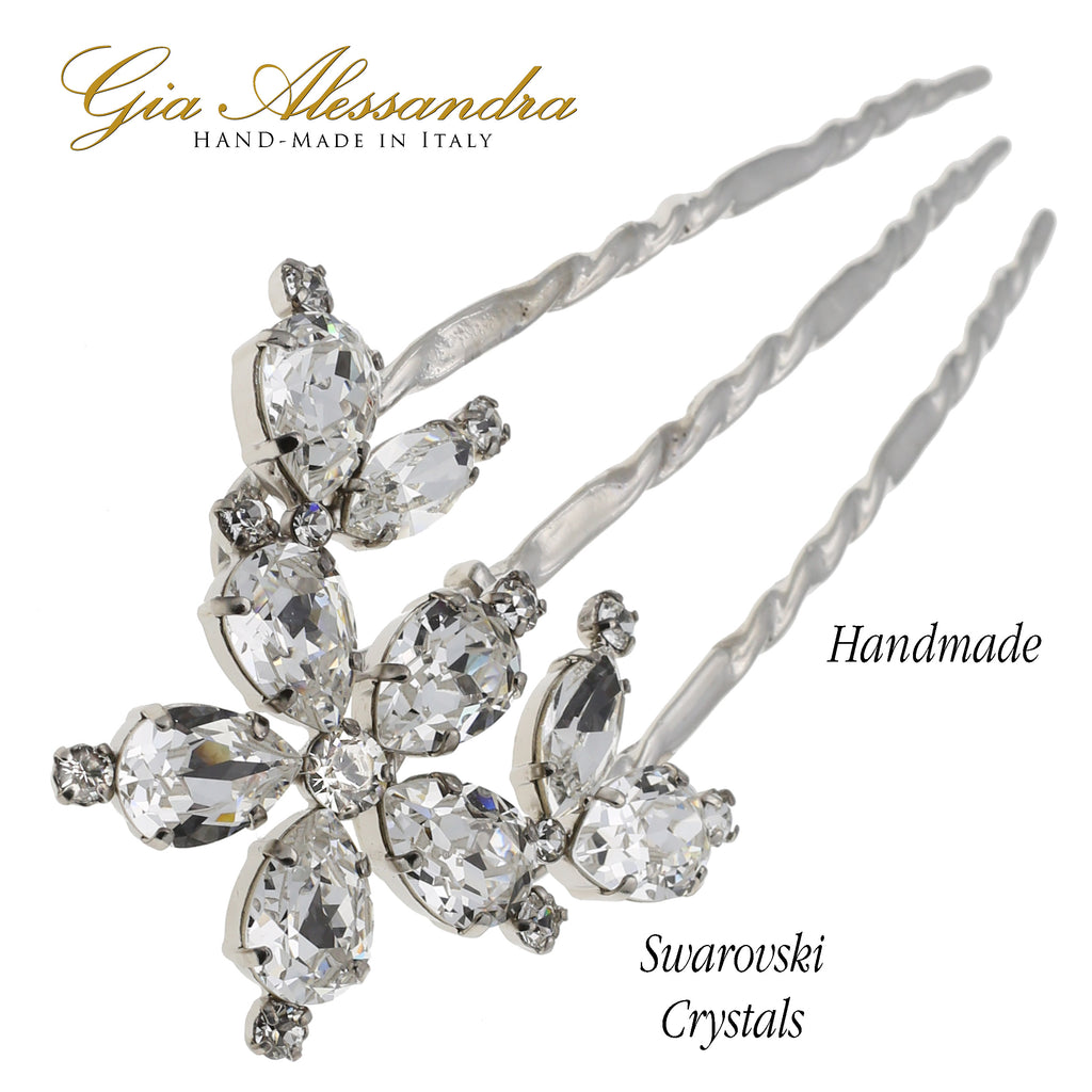 "Gia Alessandra GA260 (5"") Extra large French Twist Stick Pins Multiple Colors with Swarovsky Crystals"
