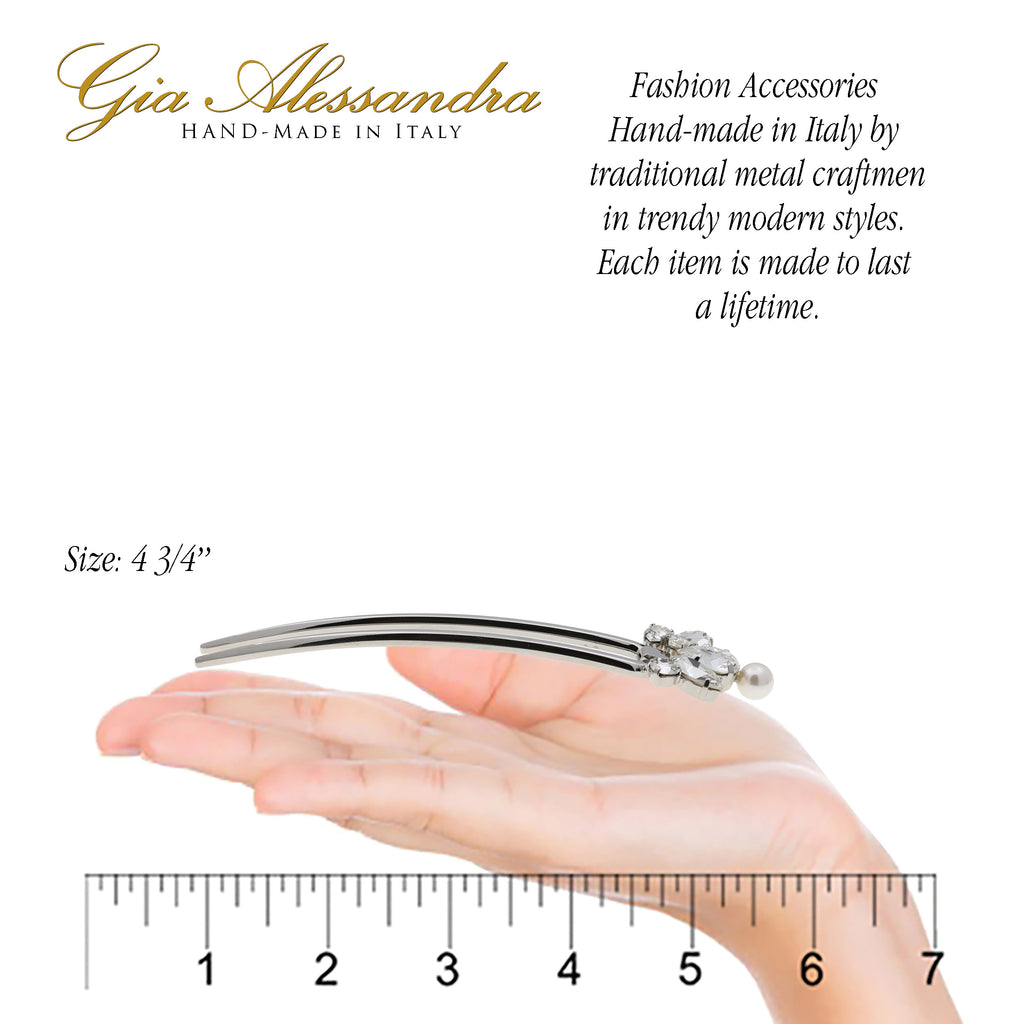 "Gia Alessandra GA261 (4.75"") Large Italian Handmade Silver French Twist Stick Pins with White Swarovsky Crystals & Pearls"