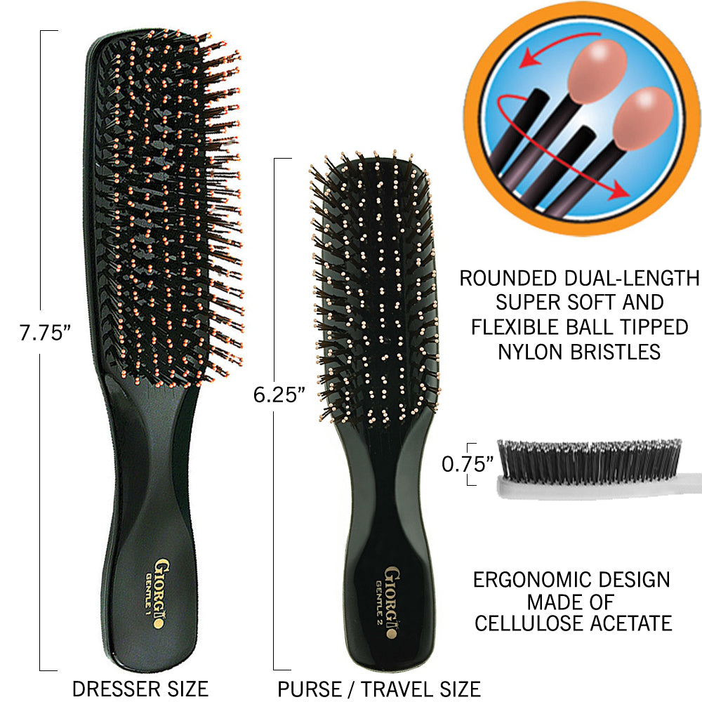 Giorgio GIO1-2BLK Black Set Gentle Hair Brush Dresser & Travel Size. Wet & Dry Pro Hair Brush Detangler. Soft for Sensitive Scalp. Good For Men Women & Kids All hair lengths. Durable and Anti-Static.
