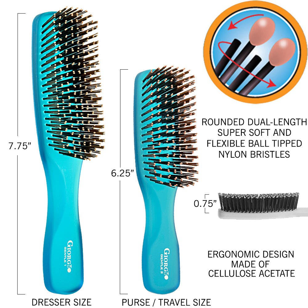 Giorgio GION1-2B Neon Blue Set Gentle Hair Brush Dresser & Travel Size