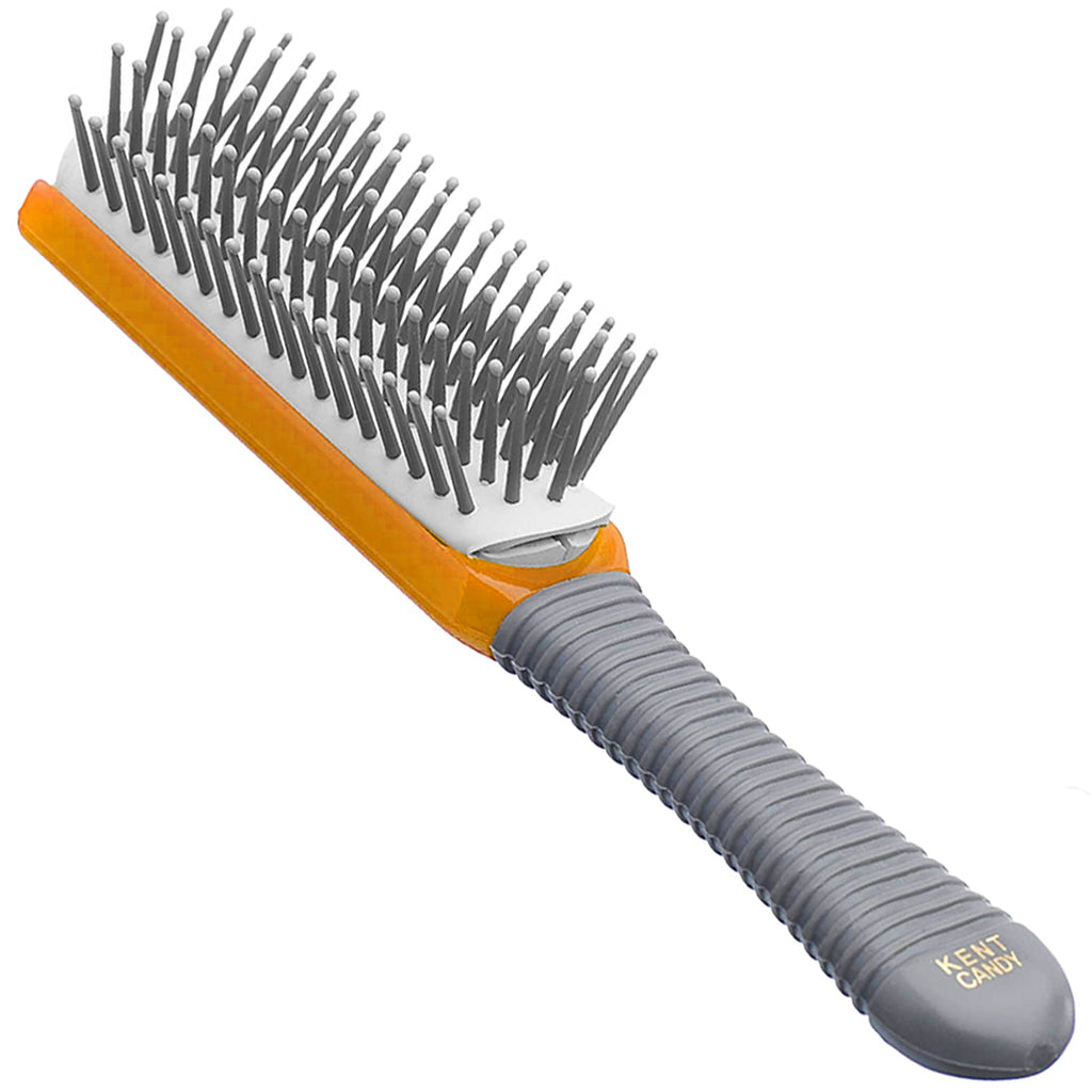 "Kent KB Candy - Small (6 1/2"") 5-Row, Ball Tipped Quill Hairbrush with Grey Rubber Handle"