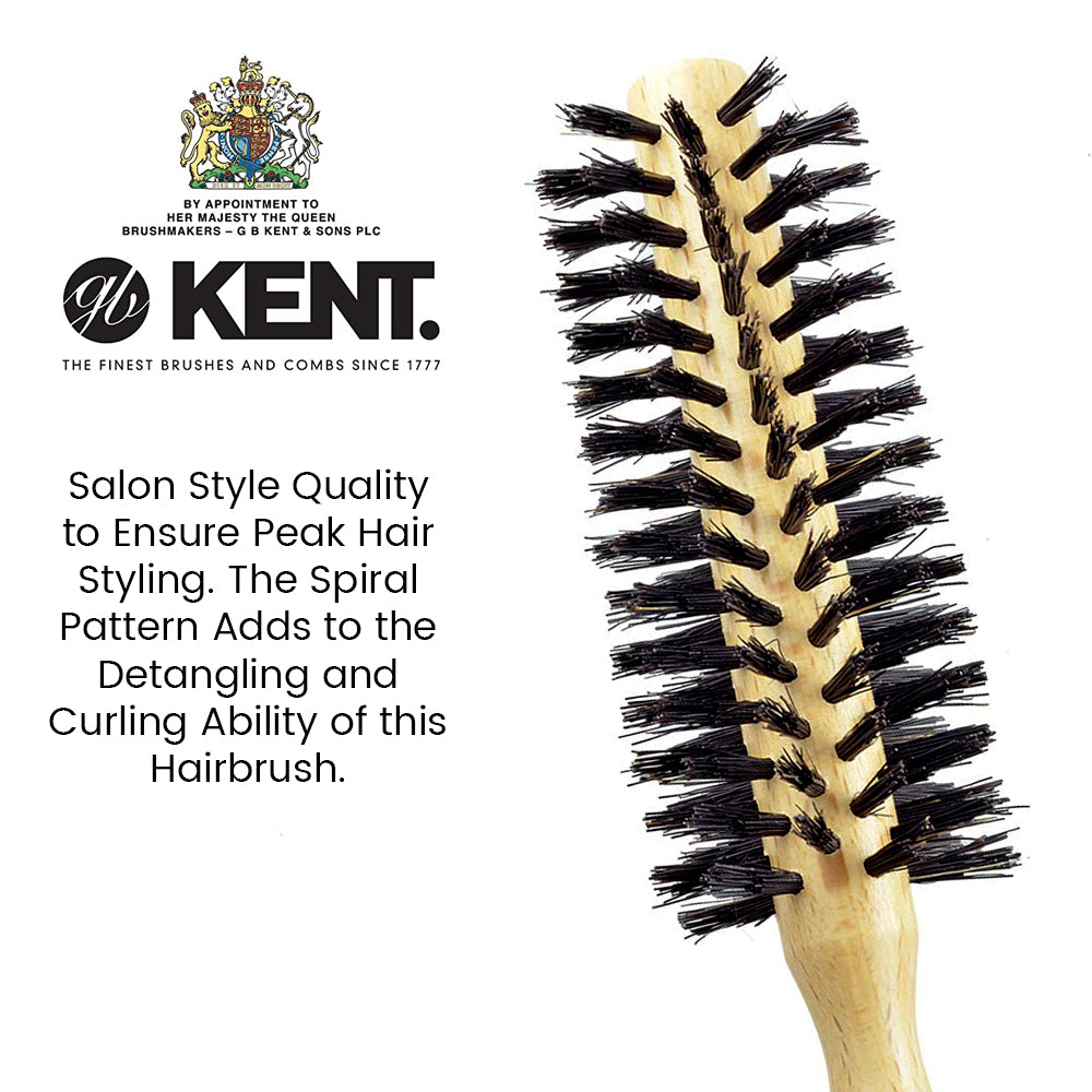 Kent LBR1 Finest Ladies Small Radial Hair Brush Pure Black Bristle