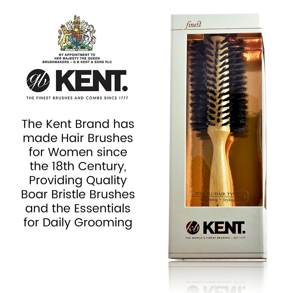 Kent LBR2 Finest Ladies Pure Black Boar Bristle Radial Hair Brush