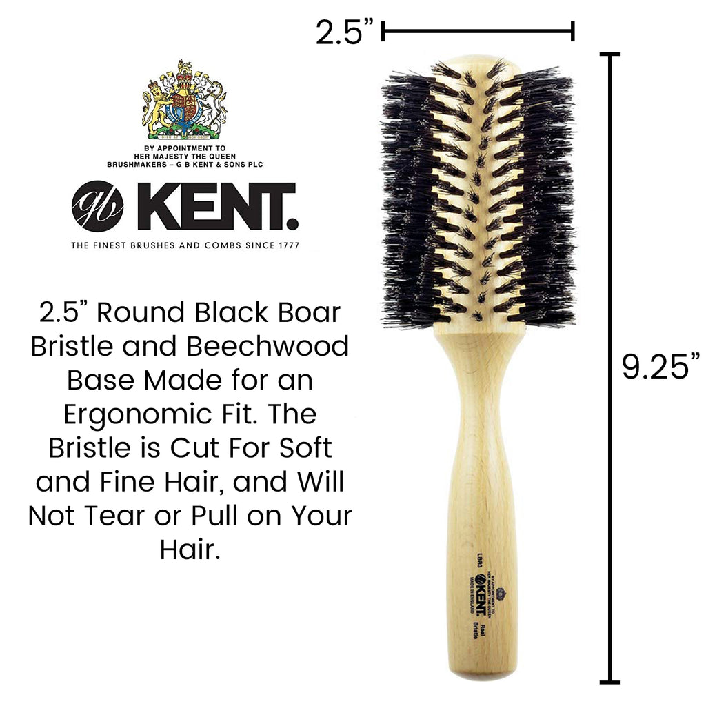 Kent LBR3 Finest Ladies Large Radial Pure Black Bristle Hair Brush