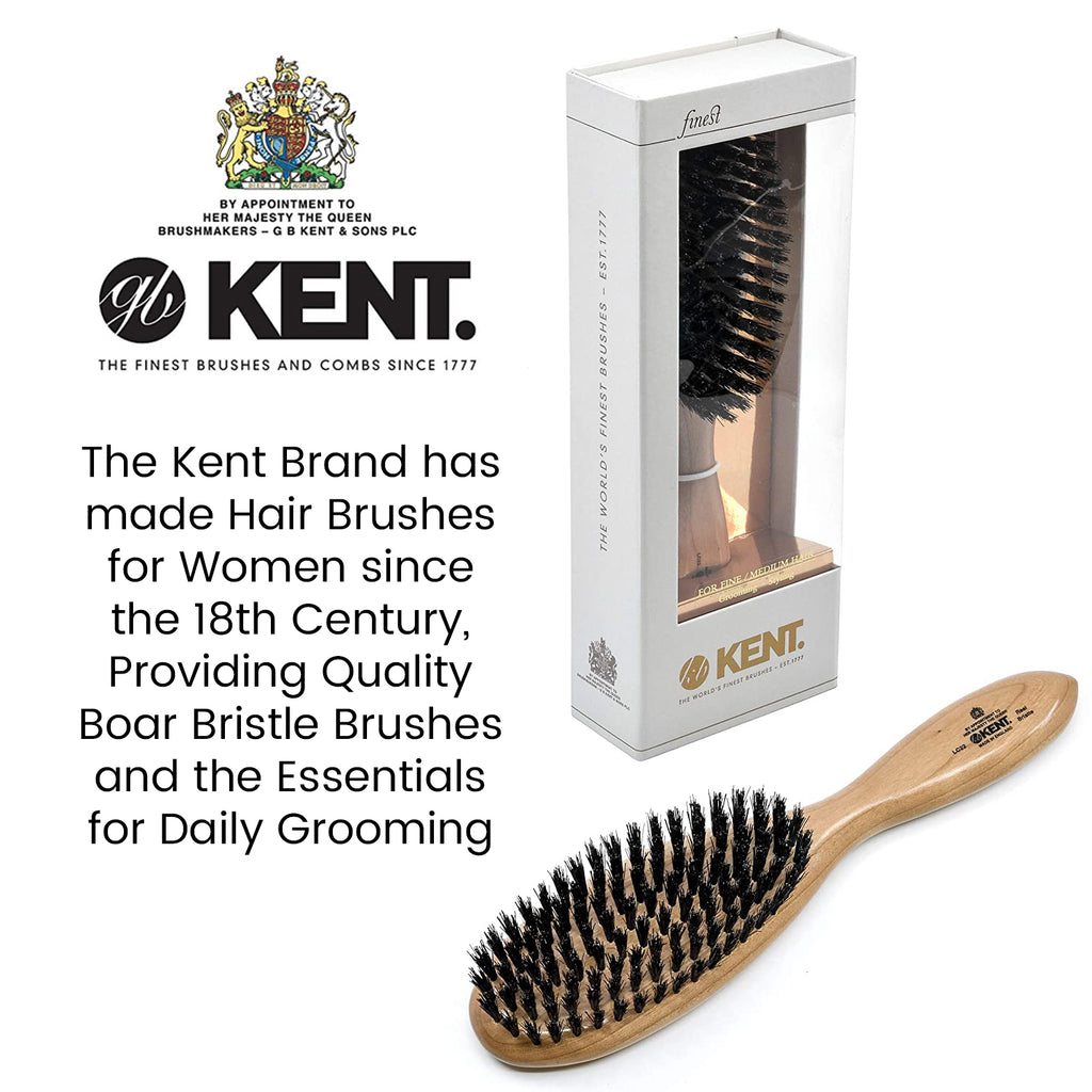 Kent LC22 Cherry Wood Pure Black Bristle Oval Grooming Hair Brush