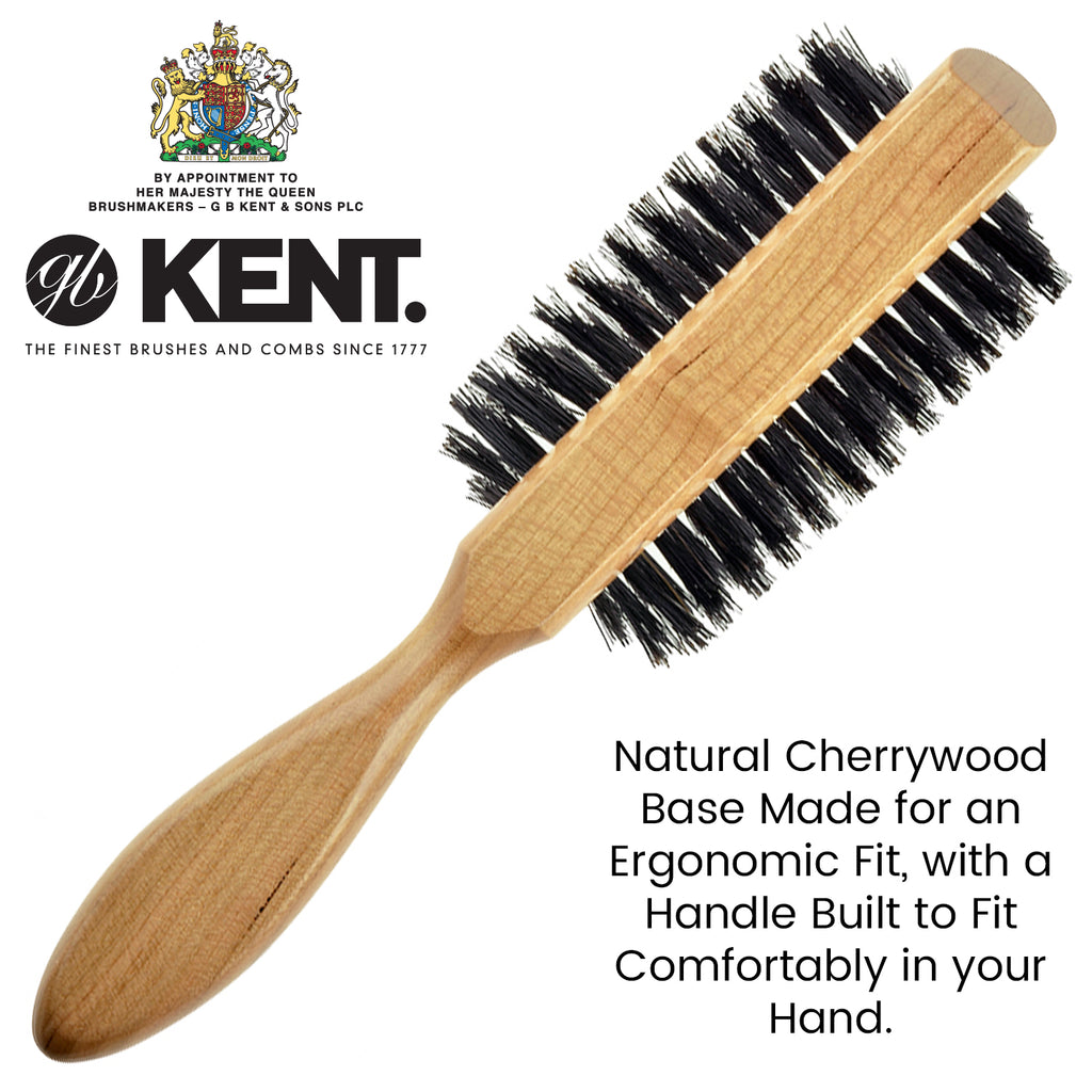 Kent LC8 65mm Half Round Cherry Wood Black Bristle Hair Brush