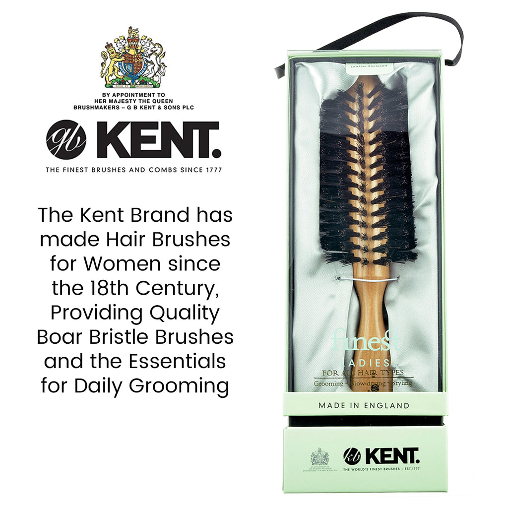 Kent LC8 Half Radial Cherry Wood Black Bristle Hair brush for Ladies Brushes & Combs KENT