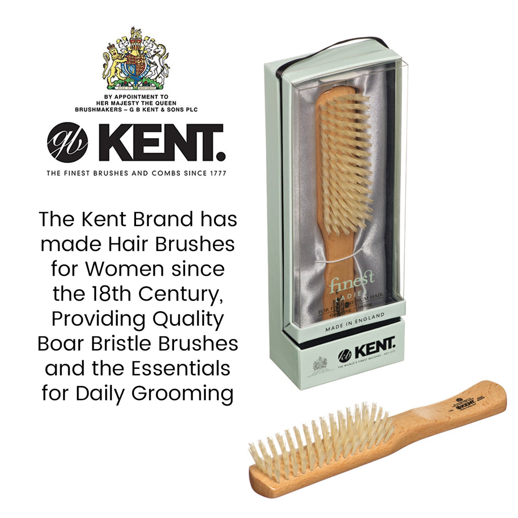 Kent LG3 Beech Wood Pure White Bristle Flat Narrow Hair Brush