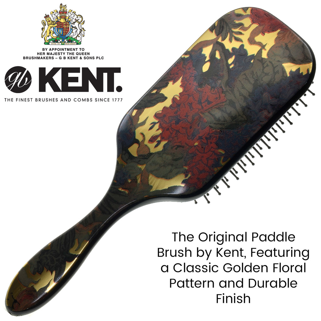 "Kent LPB1 9.5"" Floral Large Cushion Square Paddle Hair Brush."