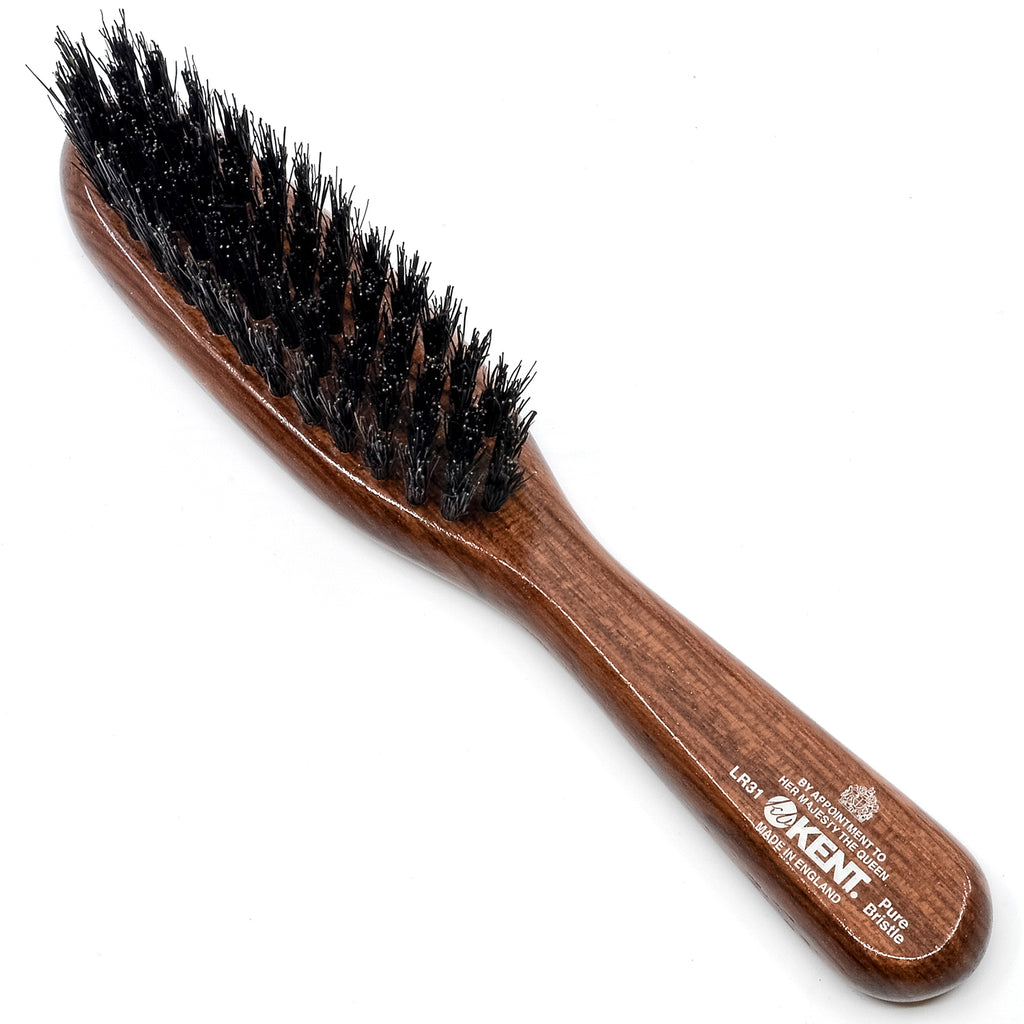 Kent LR31 Dark Wood Pure Black Natural Bristle Narrow Handbag Hair Brush