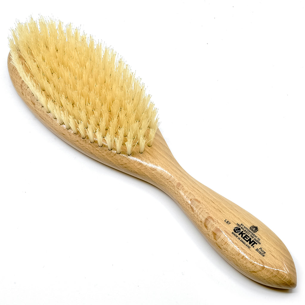 Kent LS7 Finest Ladies Hair Brush Finest Oval Satin Wood White Bristle Hair Brushes
