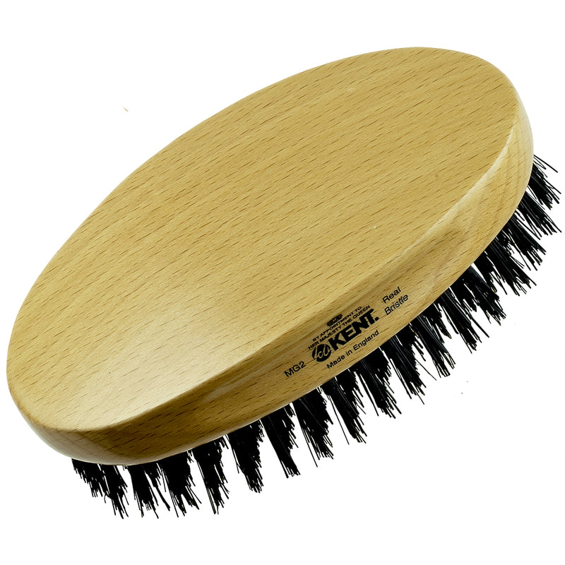 Kent MG2 Oval 100% Natural Beechwood Men Military Hair Brush with Medium Strength Pure Black Bristle