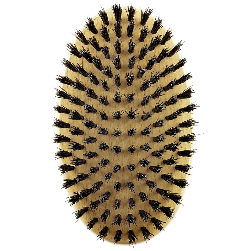 Kent MG2 Oval 100% Natural Beechwood Men Military Hair Brush with Medium Strength Pure Black Bristle Hair Brushes