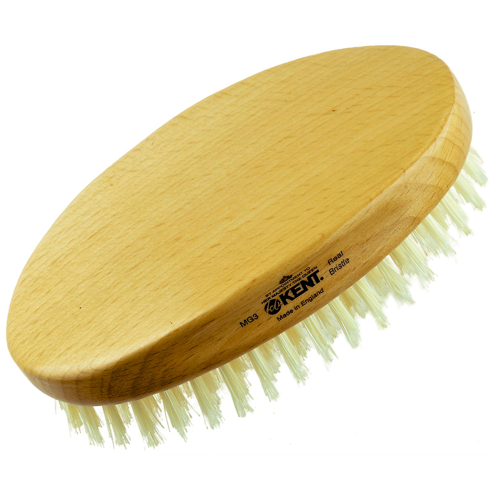 "Kent MG3 5"" Finest Men's Beechwood Oval Pure White Bristle Military Hairbrush"