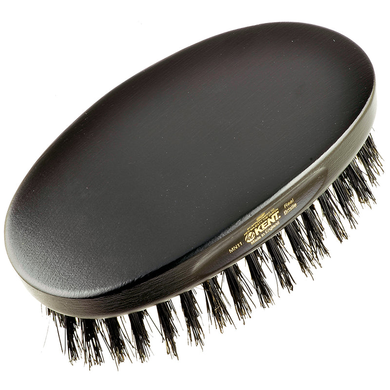 Kent MN11 Oval Men's Club Hair Brush Ebony Wood. Pure Black Bristle