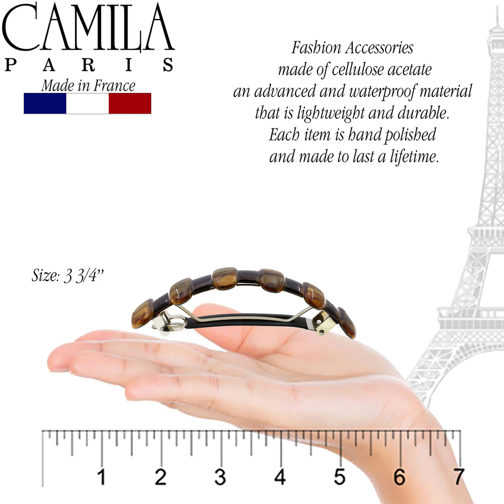Camila Paris MP802 Brown French Hair Barrette Automatic Clasp