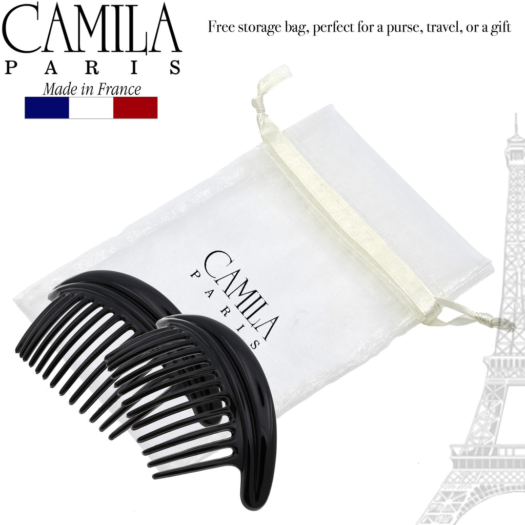 Camila Paris MP978-2 Large Black French Hair Side Comb Interlocking
