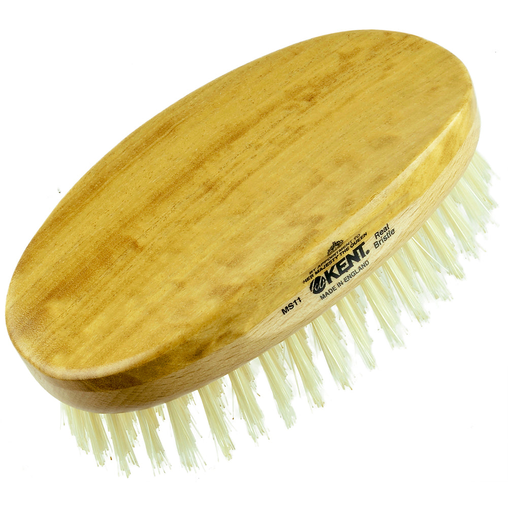 Kent MS11 Oval Men Military Satin and Beech Wood. Pure White Bristle Gentleman's Hair Brush Hair Brushes