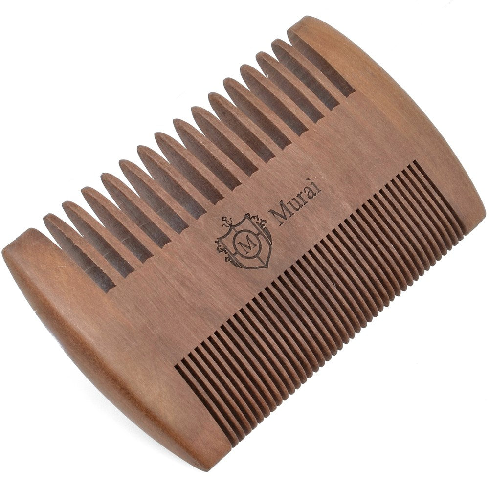 Murai by Giorgio GIOWC Wooden Beard Combs for Men - Dual Action Fine & Wide Tooth Wood Comb, Perfect for Use with Balms and Oils, Pocket Comb for Beards - Cherrywood Beard & Moustache Comb Beard Kit