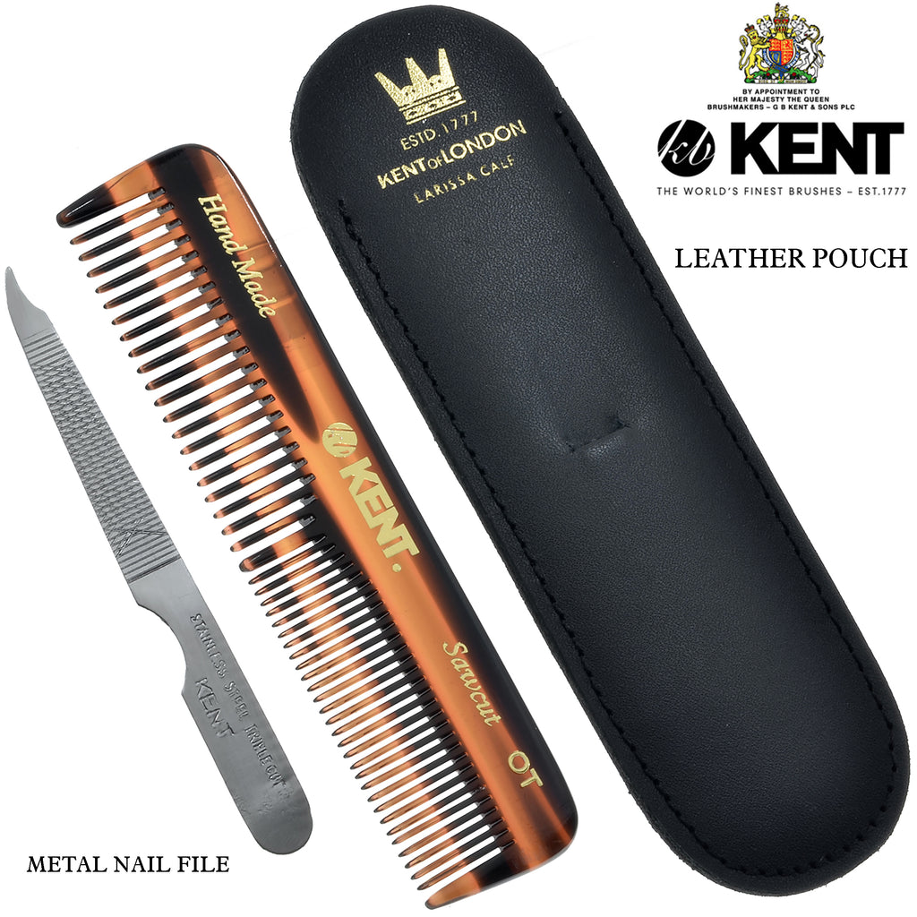 "Kent NU19, OT 4.5"" Handmade Pocket Comb, Metal Nail File Leather Case"