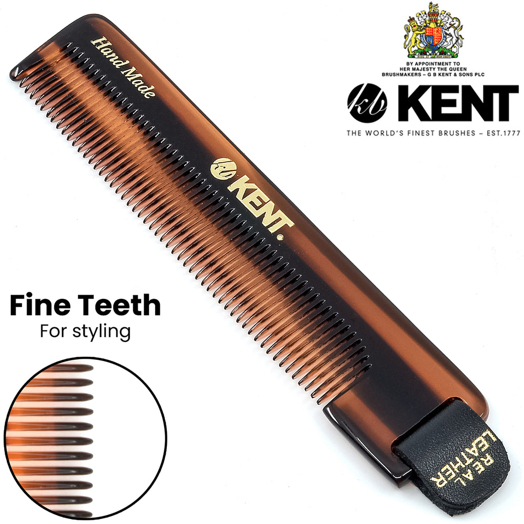 "NU22 5"" 112mm Kent Handmade Fine Comb With Leather tab and case. Sawcut"
