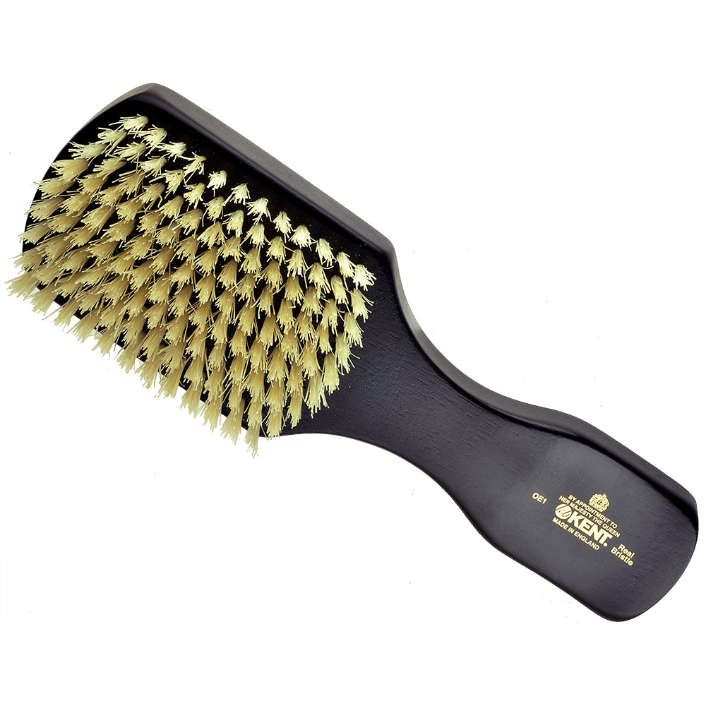 Kent OE1 Finest Men's Rectangular/Club Ebony Wood Pure White Bristle Gentleman's Hair Brush Hair Brushes