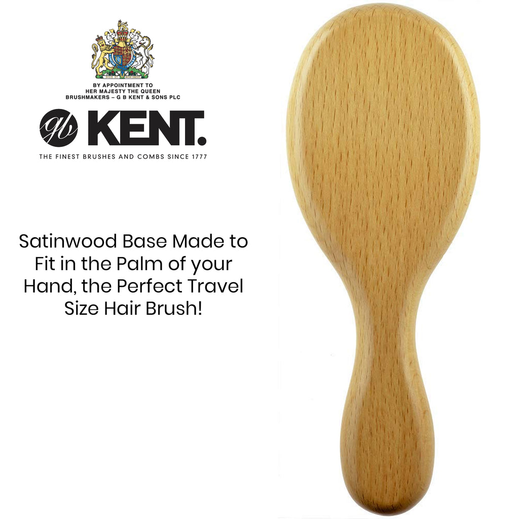 Kent OG1 Finest Men's Classic Oval Club Satinwood Pure Black Bristle