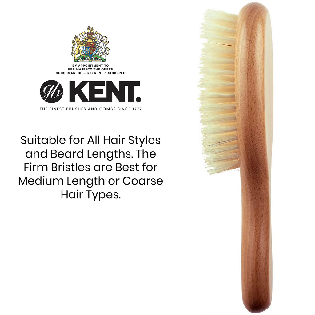 Kent OG3 Finest Men's Oval Club Beech Wood Pure White Bristle