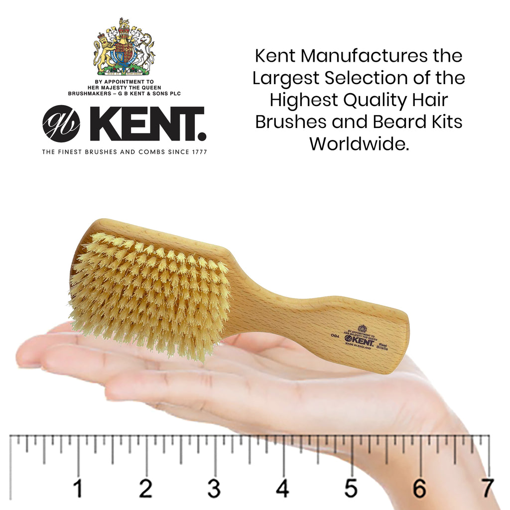 Kent OG4 Rectangular Club Gentleman's Hair Brush Beech Wood Pure White