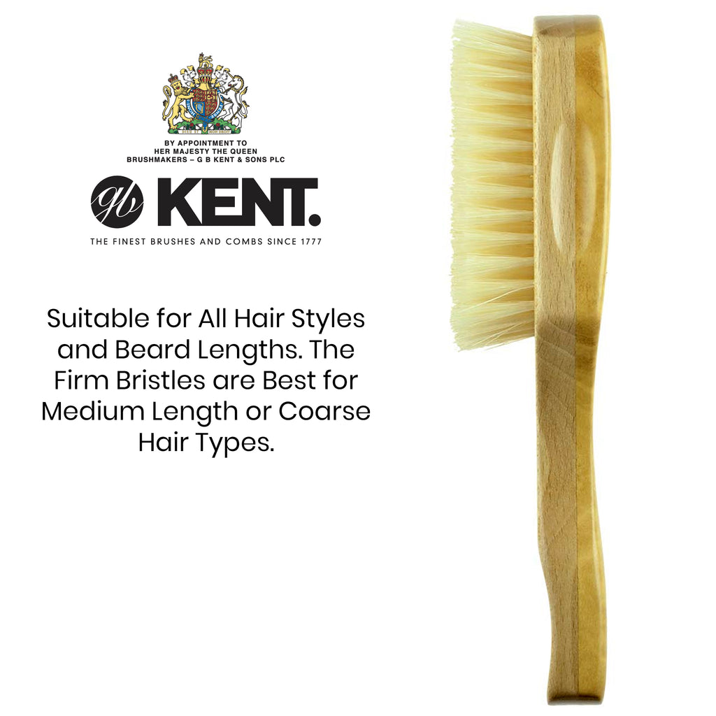 Kent OS11 Soft Men's Rectangular Club Hair Brush. Pure White Bristle