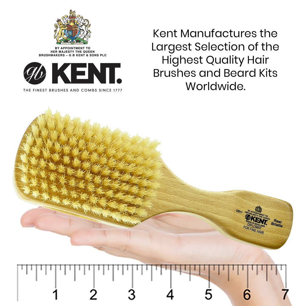 Kent OS11 Soft Men's Rectangular/club satin wood, soft white bristle Hair brush Brushes & Combs KENT