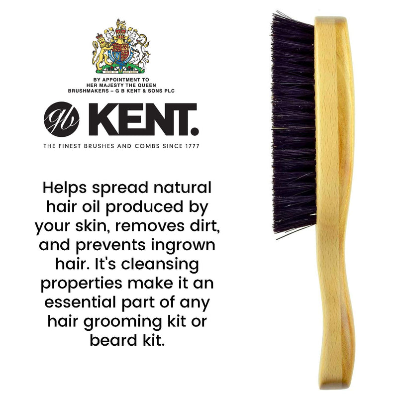 Kent OS18 Finest Men's Rectangular Club Satinwood Pure Black Bristle Gentleman's Hair Brush - Thick Hair