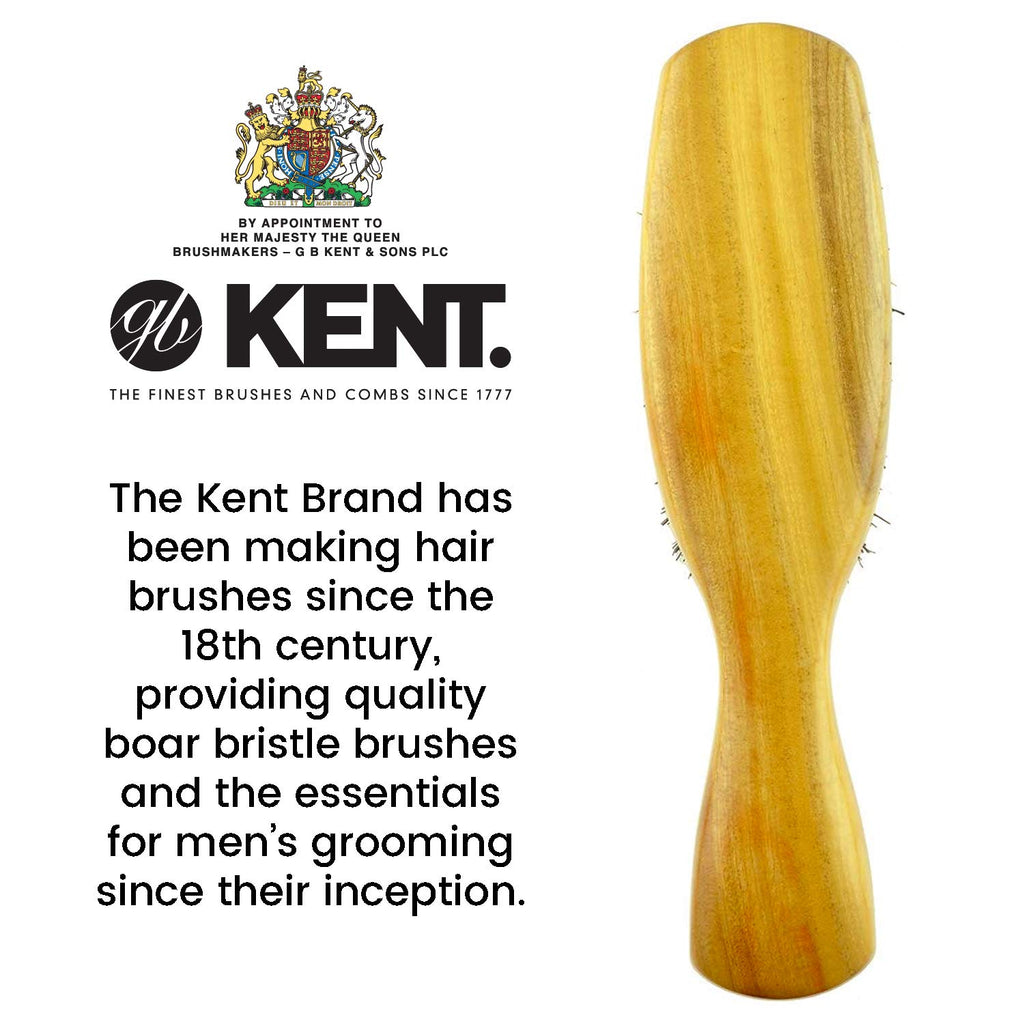 Kent OS18 Finest Men's Rectangular Club Satinwood Pure Black Bristle Gentleman's Hair Brush - Thick Hair Hair Brushes